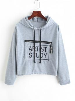 Autumn and Spring Front Letter Nonelastic Full Short Drop Hooded Hoodie Drawstring Zippered Pocket Artist Study Graphic Hoodie