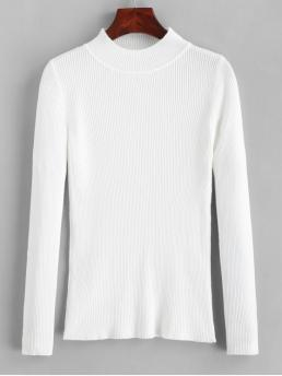 Autumn and Winter Solid Super-elastic Full Mock Regular Slim Fashion Daily and Going Pullovers Ribbed Mock Neck Slim Knitted Sweater