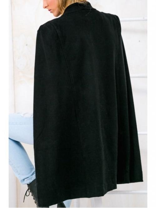 Spliced Solid Stand-Up Sleeveless Bat Wool Novelty Pure Color Asymmetric Double-Faced Cape Coat