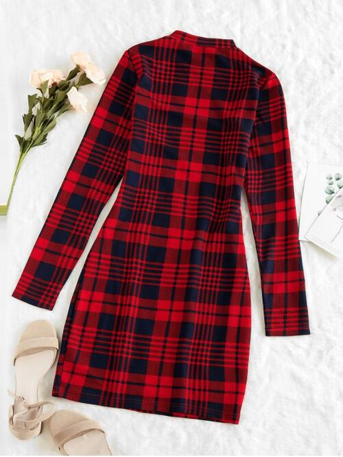 Cherry Red Plaid Long Sleeves Polyester,polyurethane Houndstooth Dress on Sale