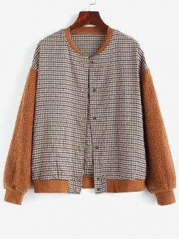 Full Sleeve Wide-waisted Polyester,polyurethane Gingham Faux Shearling Teddy Baseball Jacket on Sale