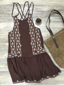 Summer No Geometric Sleeveless Spaghetti Mini A-Line Bohemian Embroidered Crisscross Strap Dress