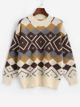 Full Sleeve Pullovers Polyester Argyle Crewneck Pattern Sweater Fashion