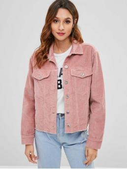 Nonelastic Autumn and Spring and Winter Frayed and Pockets Solid Single Shirt Full Regular Wide-waisted Fashion Jackets Daily Frayed Hem Corduroy Jacket