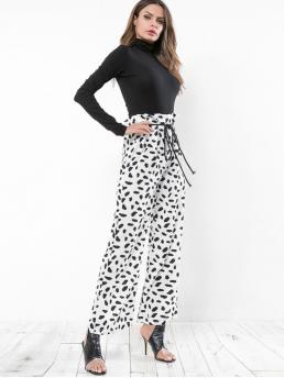 Summer Yes Zipper Wide Leopard Loose High Casual Leopard Print Belted Wide Leg Pants