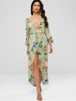 Yes Summer Floral 3/4 Flare Plunging Ankle-Length Asymmetrical Beach and Vacation Casual Floral Print Flare Sleeves Belted Dress