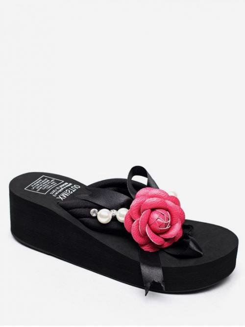 Summer Cloth 8 TPR Floral Slip-On Flat Slides Casual and Daily Fashion For Outdoors Flower Pattern Platform Sandals