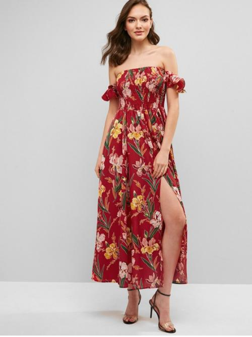 No Summer Nonelastic Floral Slit Short Off Ankle-Length A-Line Vacation Fashion Smocked Floral Slit Off Shoulder Dress
