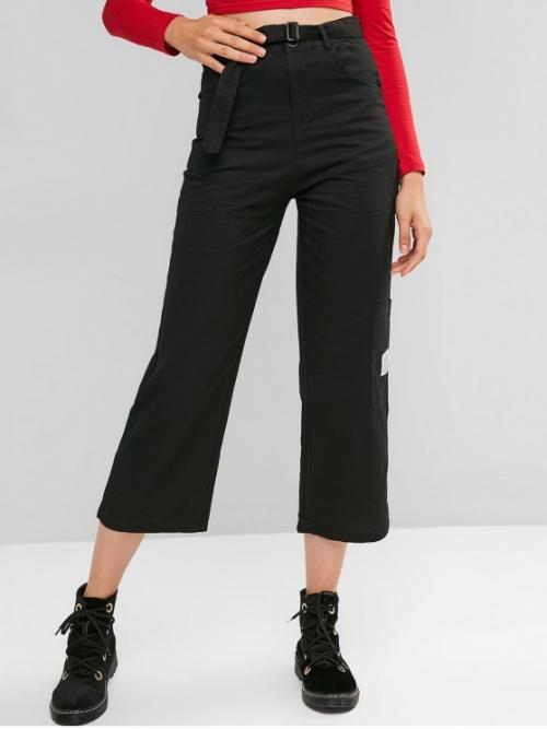 Fall and Spring Yes Zipper Straight Letter Pockets Regular High Fashion Pocket Straight Zip Fly Belted Casual Pants