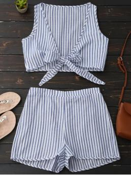 Striped Pleated Elastic Mid Regular Fashion Plunge Striped Front Tied Top with Shorts
