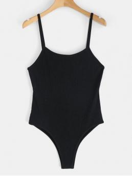 No Summer Solid Sleeveless Spaghetti Fashion Going Ribbed Strappy Bodysuit