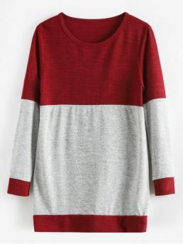 Autumn and Spring Others Elastic Full Round Regular Regular Fashion Daily Pullovers Knitted Tunic Two Tone Sweater