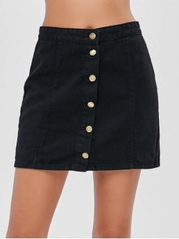 No Fall and Spring Button Solid A-Line Mini Daily and Going Fashion Button Fly Mini Denim Skirt