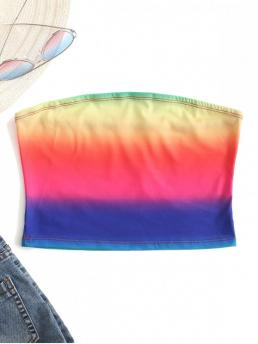 Summer Elastic Standard Ombre Strapless Short Sexy Ombre Tube Top