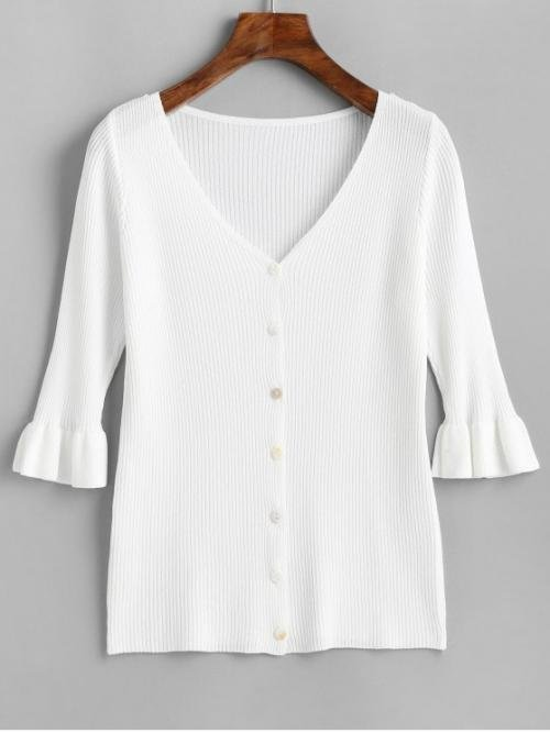 Autumn and Spring and Winter Button Solid Single Elastic Three V-Collar Regular Slim Fashion Daily Cardigans V Neck Button Up Ruffled Sleeve Cardigan