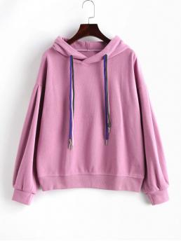 Autumn and Winter Others Full Regular Drop Hooded Hoodie Drop Shoulder Drawstring Knit Pullover Hoodie