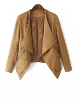 Zippers Solid Collarless Full Wide-waisted Fashion Leather Open Front Zip Pockets Suede Jacket