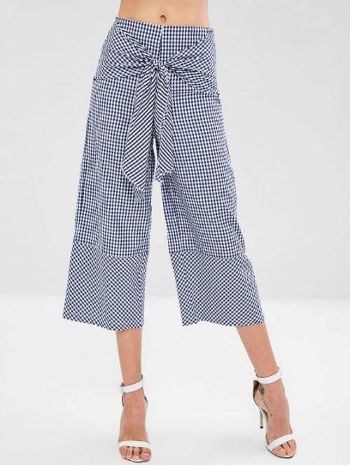 Spring and Summer Zipper Wide Plaid Loose High Fashion Wide Leg Gingham Knot Pants