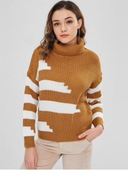 Autumn and Winter Striped Elastic Full Turtlecollar Regular Regular Fashion Daily and Going Pullovers Pullover Turtleneck Stripes Sweater