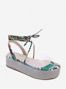 Summer PU 5CM Rubber Rhinestone Solid Lace-Up Platform Gladiator Daily and Party Fashion For Lace Up Rhinestone Platform Sandals