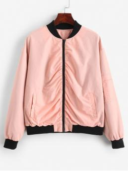 Nonelastic Autumn Pockets Others Zipper Stand-Up Full Regular Wide-waisted Fashion Jackets Daily Ruched Bomber Jacket