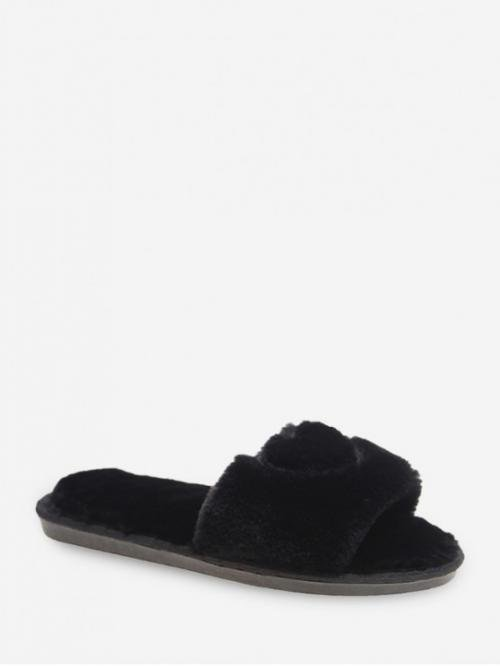 Fall and Spring and Winter Heart Daily Fashion Fur Slip-On Peep Open For Slingbacks Heart Pattern Faux Fur Indoor Flats