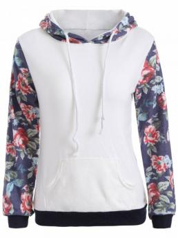 Fall Floral Fashion Full Regular Floral Pattern Pocket Hoodie