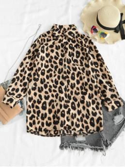Spring and Summer Leopard Full Long Shirt Fashion Daily and Outdoor Oversized Leopard Tunic Pocket Blouse