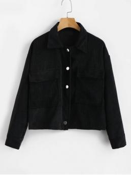 Autumn and Spring Button and Pockets Solid Turn-down Full Short Wide-waisted Casual Jackets Daily Single Breasted Corduroy Jacket