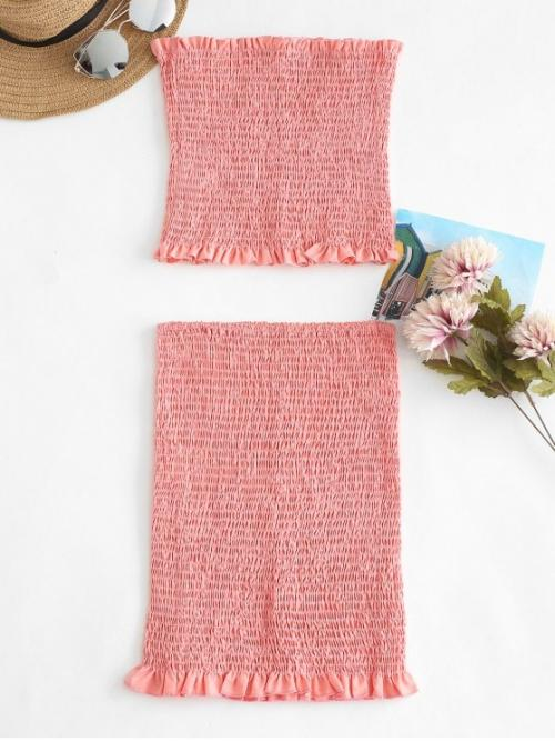 Fall and Spring and Summer Solid Pleated Elastic High Sleeveless Strapless Bodycon Fashion Daily and Going Smocked Bandeau Top Tube Skirt Two Piece Set