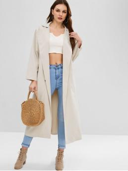 Fashion Pockets Solid Lapel Long Full Wide-waisted Trench Double Breasted Trench Coat