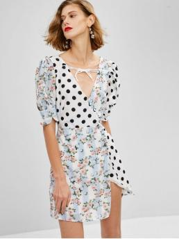 No Fall and Spring and Summer Floral and Polka Short V-Collar Mini A-Line Casual and Day and Vacation and Beach Cute Polka Dot Floral Clashing Print Mini Tea Dress