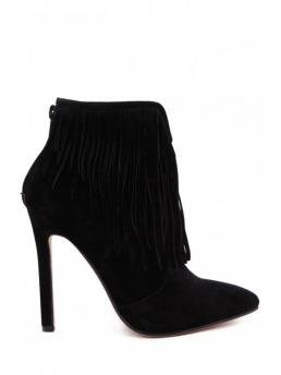 Winter and Spring/Fall Cotton Suede Solid Zip Stiletto Pointed 10CM Ankle Fashion For Fringe Solid Color Pointed Toe Short Boots