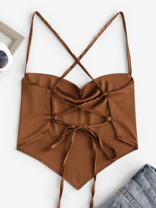 Polyester,spandex Tie Dye Deep Coffee Sexy Cowl Neck Crisscross Lace-up Backless Bandana Top Affordable