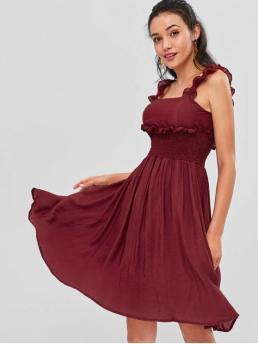 No Fall and Spring and Summer Solid Sleeveless Square Mid-Calf A-Line Day Brief Cold Shoulder Midi Party Dress