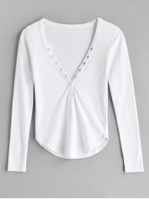 Autumn Solid Button Full Plunging Regular Fashion Plunging Ribbed T-shirt