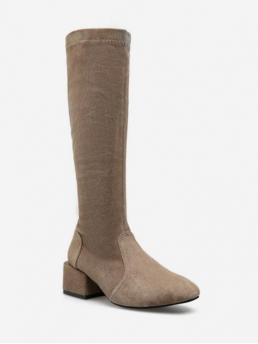 Suede Slip-On Solid 4CM Chunky Round Mid-Calf Winter Fashion For Plain Chunky Heel Suede Mid Calf Boots