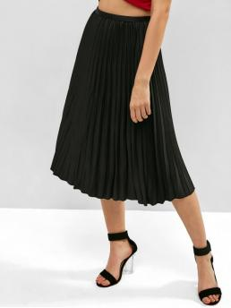 No Nonelastic Summer Elastic Solid Pleated Mid-Calf Daily and Going Fashion Solid High Waisted Pleated Skirt