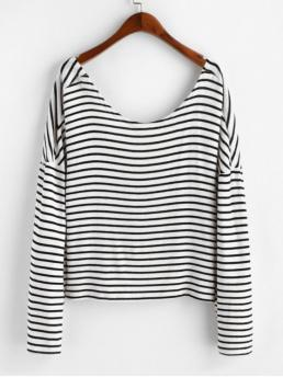 Autumn Striped Elastic Full Drop Scoop Regular Loose Casual Going Pullovers Twist Back Striped Scoop Neck Knitwear