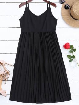 Summer No Solid Sleeveless Spaghetti Mid-Calf Pleated Chiffon Beach Cute Chiffon Pleated Beach Slip Dress