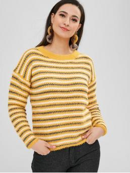 Shopping Full Sleeve Pullovers Cotton Striped Fit Sparkle Sweater