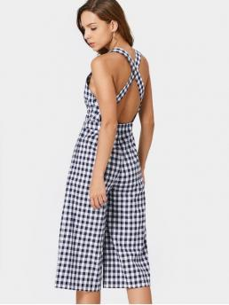 No Plaid Regular Fashion Criss Cross Checked Cut Out Jumpsuit