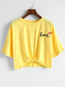 Spring and Summer Letter and Lips Embroidery and Tie Elastic 1/2 Round Crop Casual Tie Letter Lip Embroidered T-shirt
