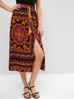 No Nonelastic Fall and Summer Elastic Slit and Tassel Floral A-Line Mid-Calf Daily and Vacation Fashion Floral Slit Tassels Midi Skirt
