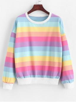 Autumn and Spring Striped Elastic Full Regular Drop Round Sweatshirt Drop Shoulder Pullover Rainbow Stripes Sweatshirt