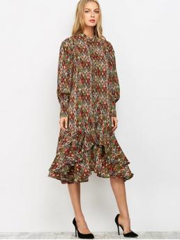Colormix No Fall and Spring Print Long Round Mid-Calf A-Line Day and Work Fashion Vintage Printed Boho Chiffon Dress