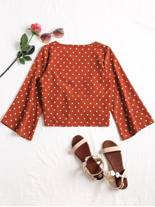 Polka Three Regular Plunging Fashion Casual Plunging Neck Polka Dot Tied Blouse