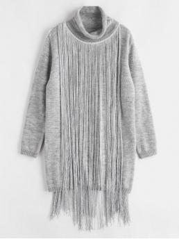 No Fall and Winter Elastic Solid Fringe Long Turtlecollar Mini Jumper Straight Casual  Fashion Turtleneck Fringe Sweater Dress