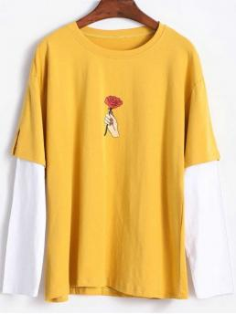 Autumn and Winter Floral Pattern and Spliced Micro-elastic Full Round Long Fashion Splicing Sleeves Rose T Shirt