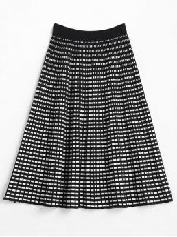 Fall and Winter Elastic Gingham A-Line Mid-Calf Going Fashion A Line Checked Mid Calf Skirt